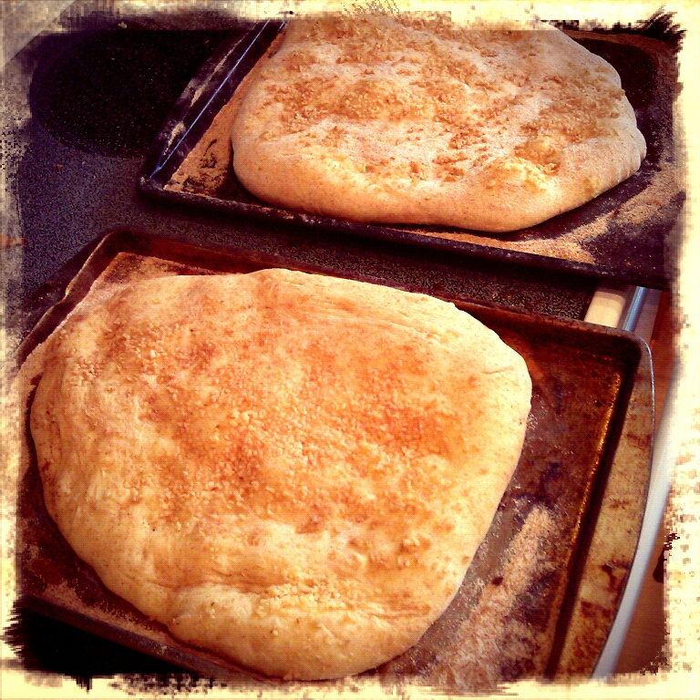 The pizza bases came out so puffy, and the garlic looked delish! I am thinking Naan Bread!!!!