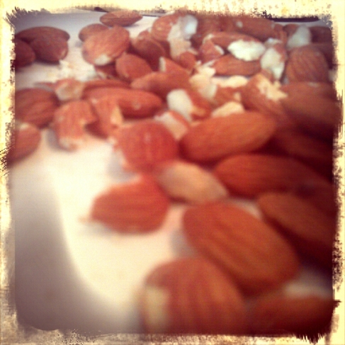 Whole almonds, Raw. Homemade Kind bars.